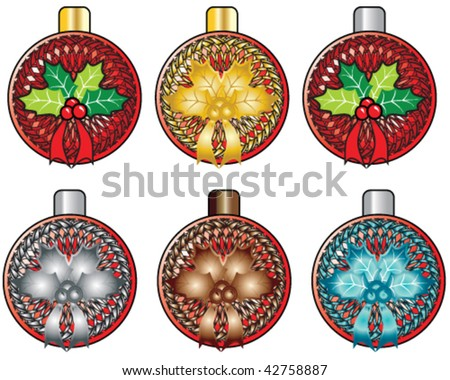 set of fancy holiday christmas ornaments