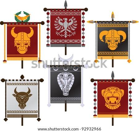 set of fantasy standards. second variant. vector illustration - stock vector