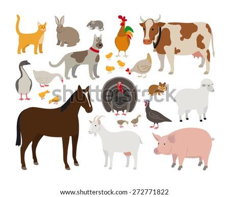 Set of Farm Animals - stock vector