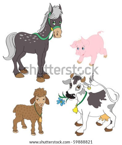 Set of farm animals - stock vector