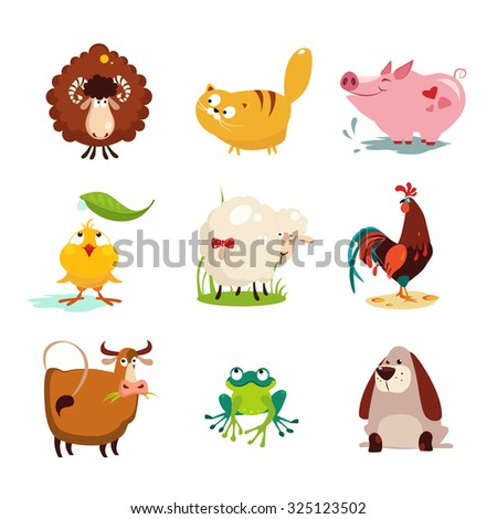Set of farm animals and birds vector illustration collection set - stock vector