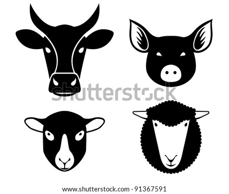 set of farm animals heads - stock vector