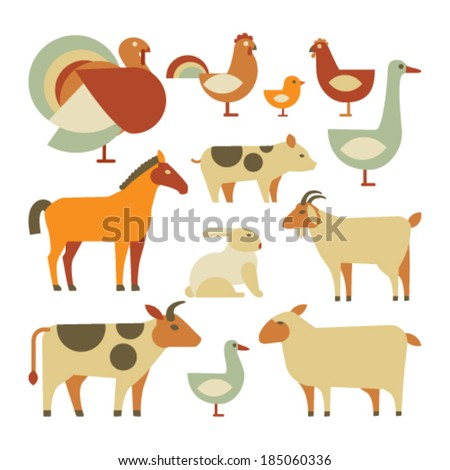 set of farm animals. isolated on white - stock vector