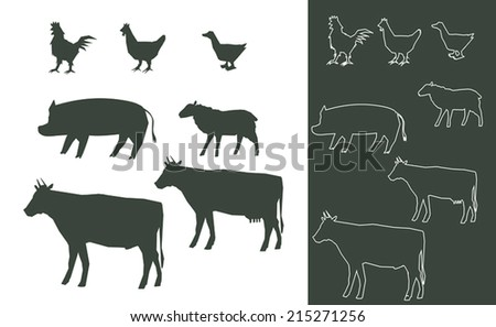 set of farm animals silhouettes - stock vector