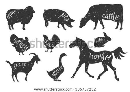 Set of farm animals silhouettes. Beef, lamb, pork, rabbit, chicken, goose, turkey meat. Butcher shop design template for craft meat packaging or food restaurant. - stock vector