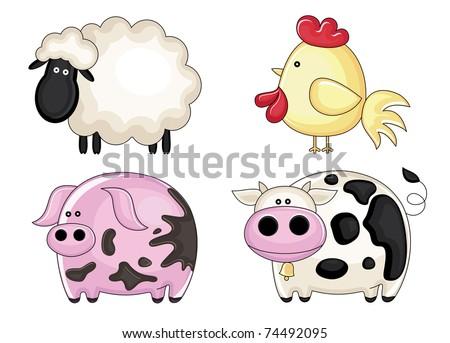 set of farm animals. vector illustration - stock vector
