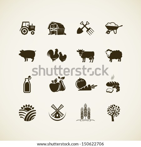 Set of farm icons - farm animals, food and drink production, organic product, machinery and tools on the farm. - stock vector