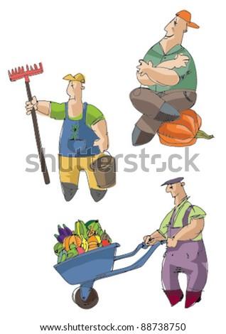set of farmers - stock vector