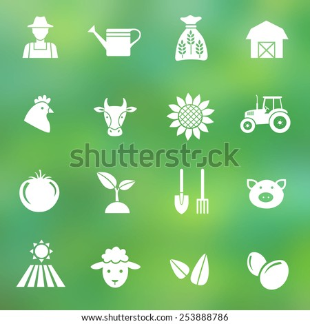 Set of farming harvesting and agriculture decorative icons set of animals plants tools  flat style icons on blurred background. Vector illustration. - stock vector