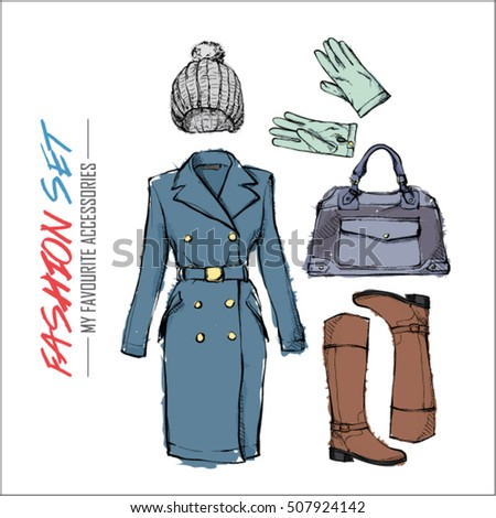Set of fashion accessories. Sketch style. Vector collection.