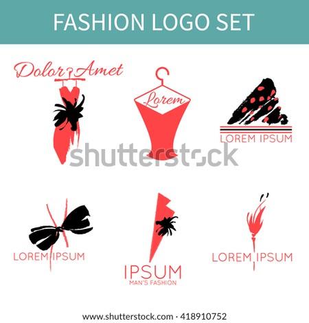 set fashion logo designs clothing shop stock vector 418910752 rh shutterstock com Hair Salon Vector Hair Stylist