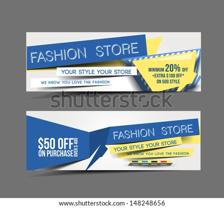 Set Of Fashion Store Promotion Header Vector Design - stock vector
