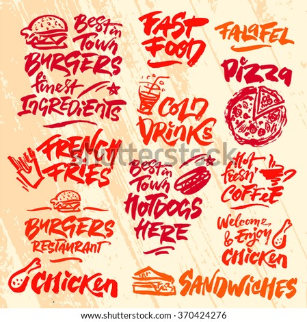 Set of Fast Food Calligraphic Labels - stock vector