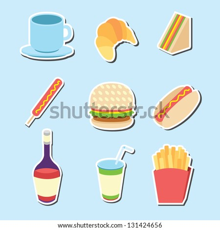 Set of Fast food icons , vector illustration - stock vector