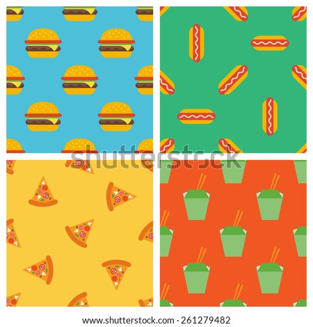 set of fast food seamless patterns - stock vector