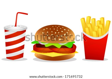 Set of fast food snacks - stock vector