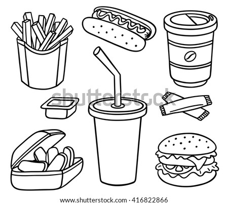 Set of fast food. Vector cartoon line-art illustration. Isolated on white.