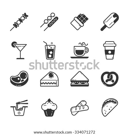 Set of fastfood icons , eps10 vector format