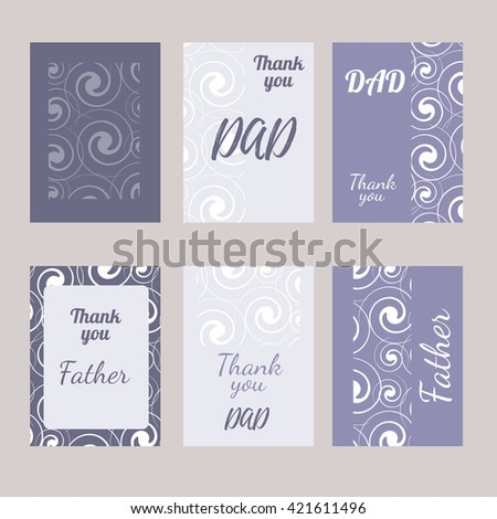 Set of Father's day brochures in vintage style. Elegant greeting card design decorated with stylish text Father's Day. Thank you Father's Day celebration concept. Happy love dad, love father - stock vector