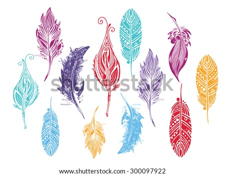 set of  feathers. vector illustration. - stock vector