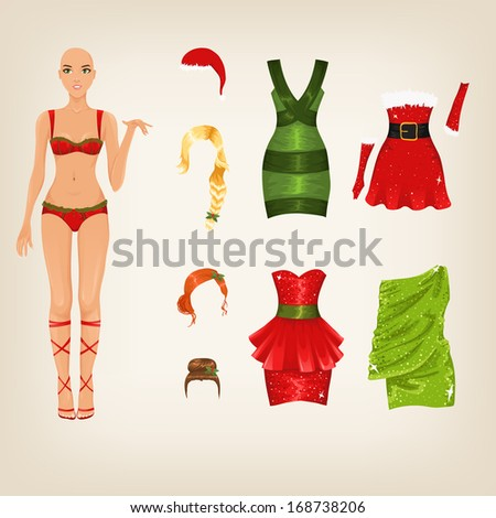 Set of female Christmas party dresses and hair - stock vector
