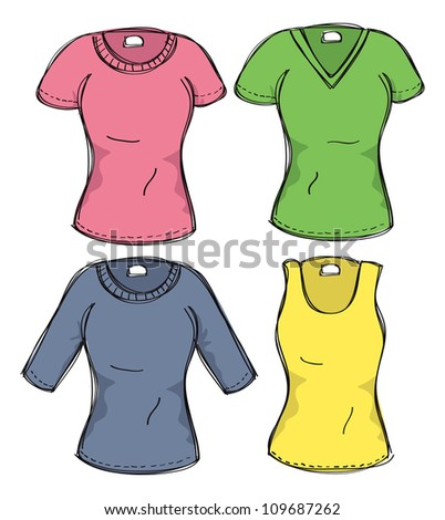 set of female clothes - stock vector