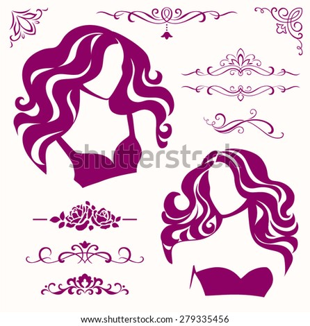 Set of female decorative elements - stock vector