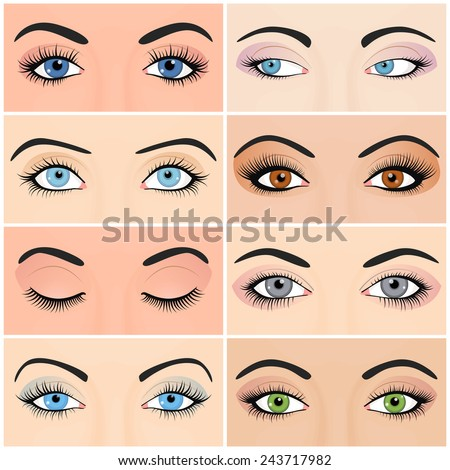 Set of female eyes and brows image with beautifully fashion make up. Vector illustration for health glamour design. Blue, green and brown colors. Close and open woman eyes. - stock vector