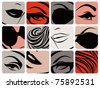 Set of female face parts. Vector illustration. - stock