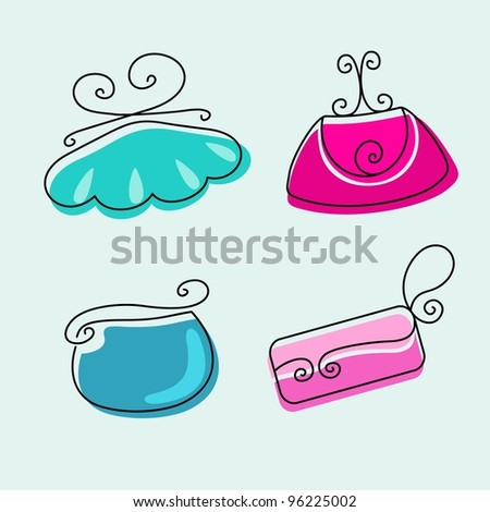 Set of female fashionable bright handbags on a light background - stock vector