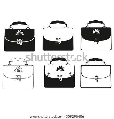 Stock Vector Set Of Outlines Of Ladies Fashion Handbags Handbags In Different Styles And Designs Vector on ladies black purse