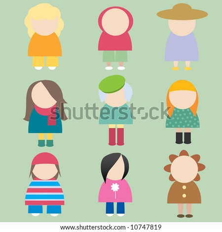 set of female icons - stock vector