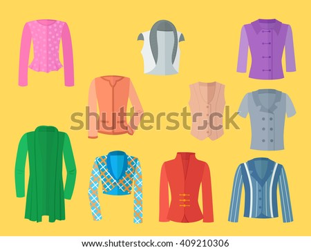 Set of female jackets in flat design - stock vector