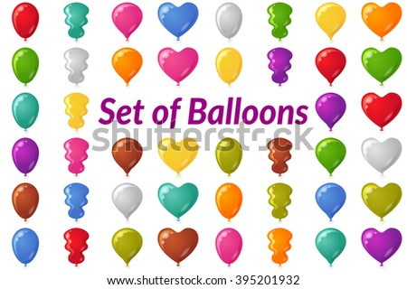 Set of Festive Balloons of Various Colors and Shapes, Isolated on White. Eps10, Contains Transparencies. Vector - stock vector