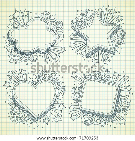 Set of festive banner doodle,visit my gallery to see more cool illustration - stock vector
