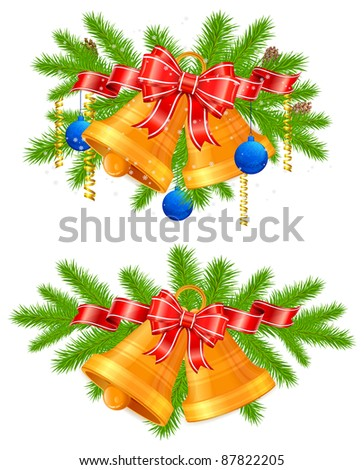 Set of festive decorations with bells, bows, ribbons and fir tree branches, vector illustration - stock vector