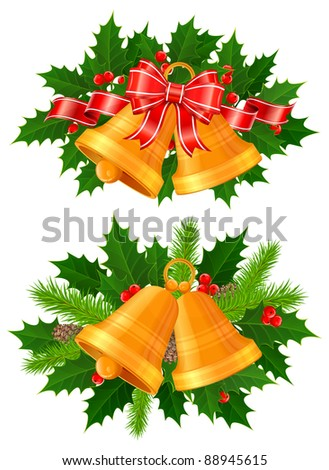 Set of festive decorations with holly, bells, ribbons and fir tree branches, vector illustration - stock vector