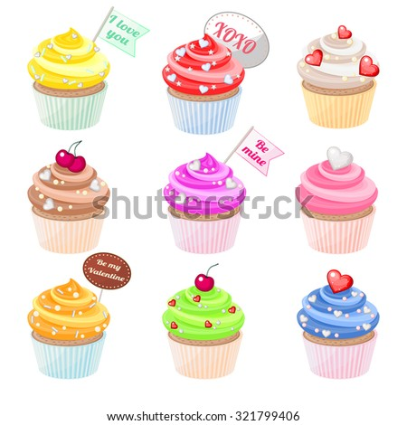 Set of festive Valentine cupcakes with different decorations  - stock vector