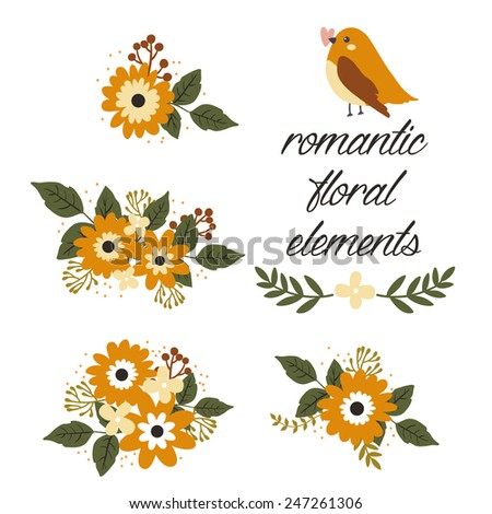 set of few romantic floral elements with flowers and berries and cute cartoon bird. can be used like elements for valentine's day greeting cards or for wedding invitations - stock vector