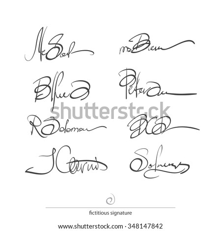 set of fictitious, personal signatures isolated on white background. vector document autograph