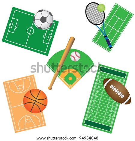 Set of fields and balls for sport games on the white background. - stock vector
