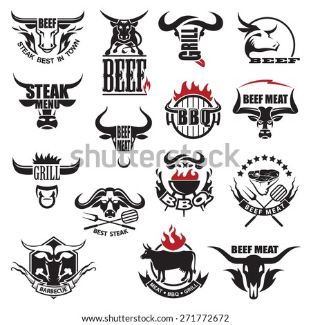 set of fifteen beef meat icons - stock vector