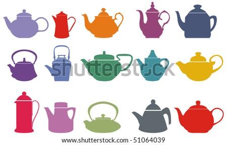 Set of fifteen colorful vector teapots - stock vector
