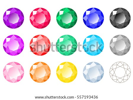 Set of fifteen multi-colored classic round brilliant cut gems with wireframe scheme diagram. Vector illustration, top view