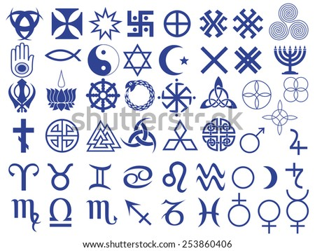 Set of fifty one various vector symbols created by mankind in different periods of history - stock vector