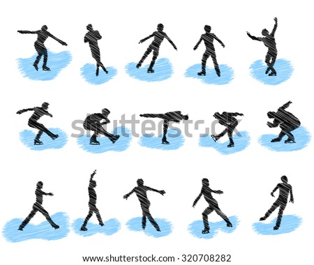 Set of figure skating scribble silhouettes. Vector illustration.
