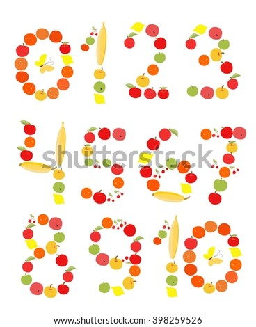 Set of figures and numbers of fruits. Illustration for children. Apples, bananas, lemons, oranges and cherries. - stock vector