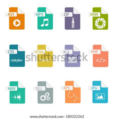 Set of file formats icons - stock vector