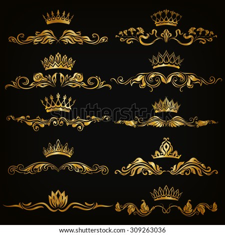 Set of filigree damask ornaments. Floral golden elements, borders, dividers, frames, crowns for page, web design. Page decoration in vintage style on black background. Vector illustration EPS 10. - stock vector