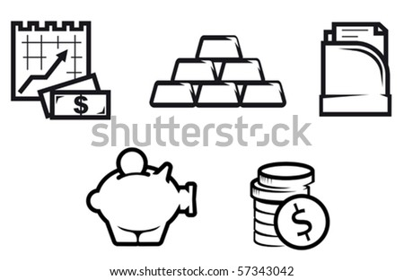 Set of finance and economic symbols. Jpeg version also available in gallery - stock vector